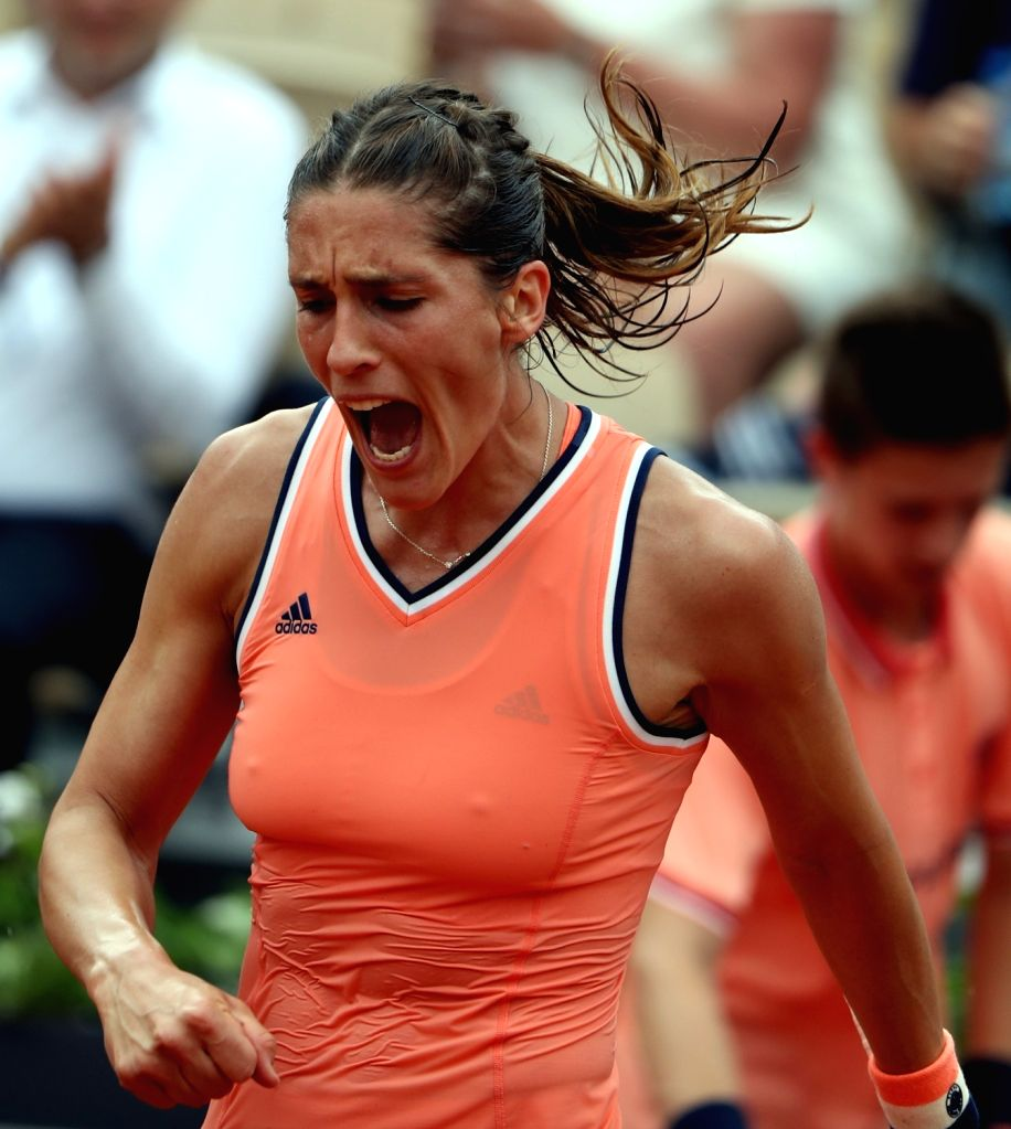 PARIS, May 29, 2018 - Andrea Petkovic of Germany reacts during the women's singles first round match against Kristina Mladenovic of France at the French Open Tennis Tournament 2018 in Paris, France ...