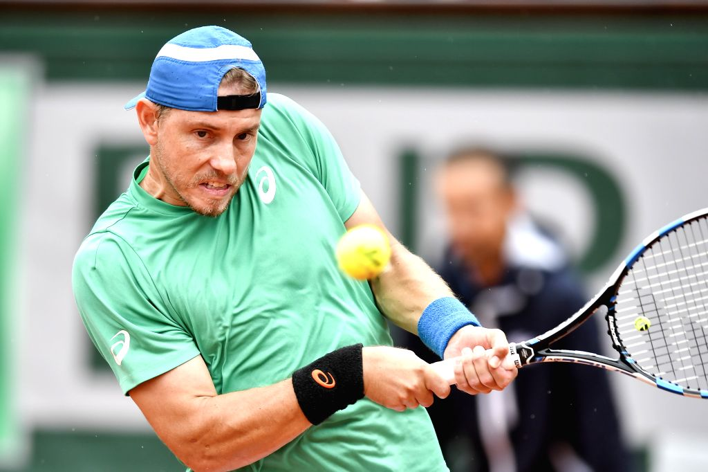 PARIS, May 29, 2018 - James Duckworth of Australia returns a shot during the men's singles first round match against Marin Cilic of Croatia at the French Open Tennis Tournament 2018 in Paris, France ...