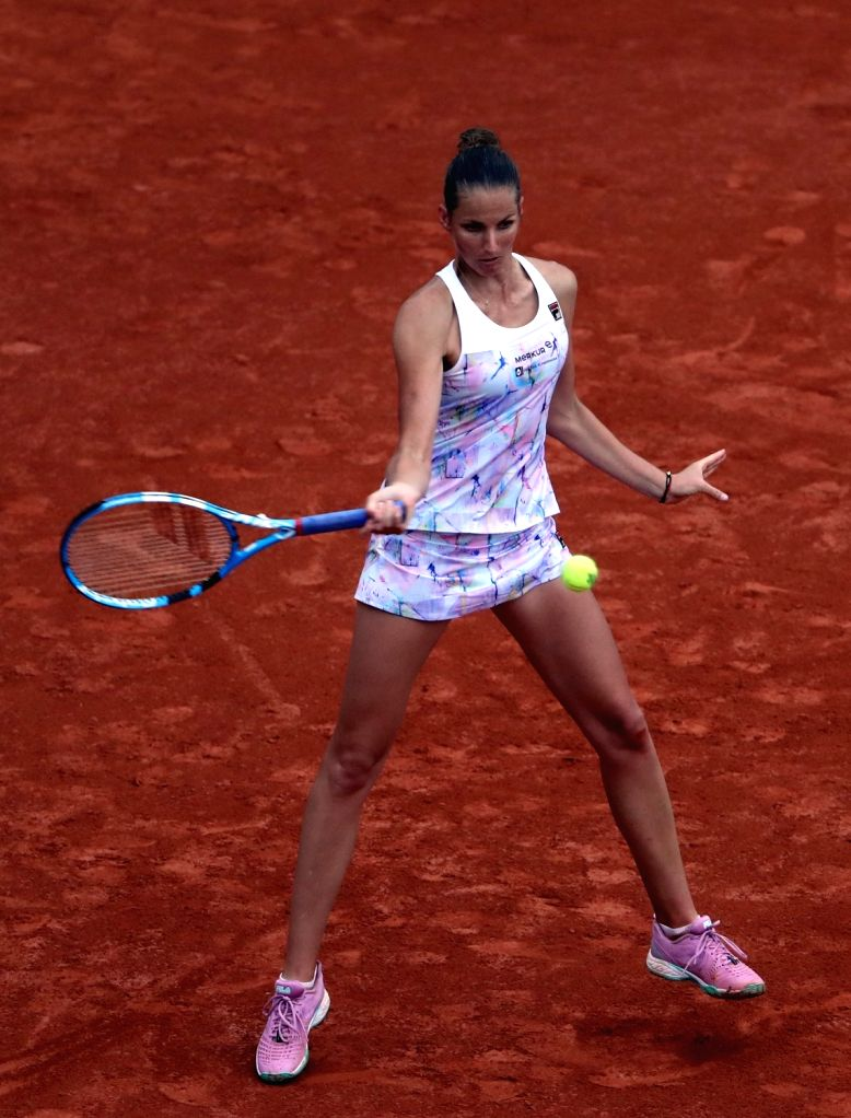 PARIS, May 29, 2018 - Karolina  Pliskova of Czech returns a shot during the women's singles first round match against her compatriot Barbora Krejcikova at the French Open Tennis Tournament 2018 in ...