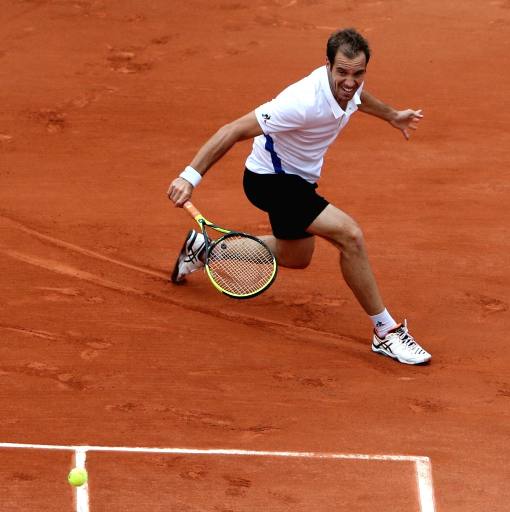 PARIS, May 29, 2018 - Richard Gasquet of France returns a shot during the men's singles first round match against Andreas Seppi of Italy at the French Open Tennis Tournament 2018 in Paris, France, on ...
