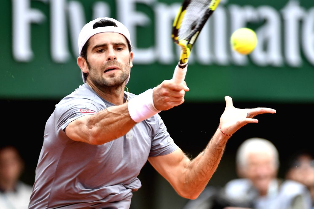 PARIS, May 29, 2018 - Simone Bolelli of Italy returns a shot during the men's singles first round match against Rafael Nadal of Spain at the French Open Tennis Tournament 2018 in Paris, France on May ...