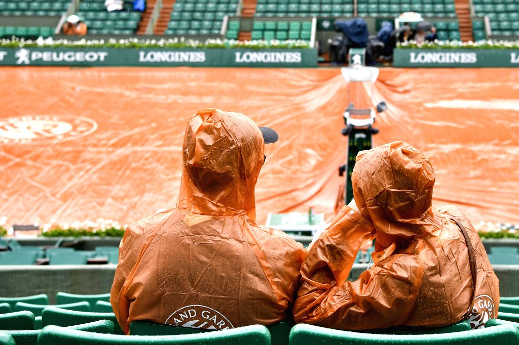PARIS, May 29, 2018 - Spectators wait for the start of the men's singles first round match between Marin Cilic of Croatia and James Duckworth of Australia at the French Open Tennis Tournament 2018 in ...