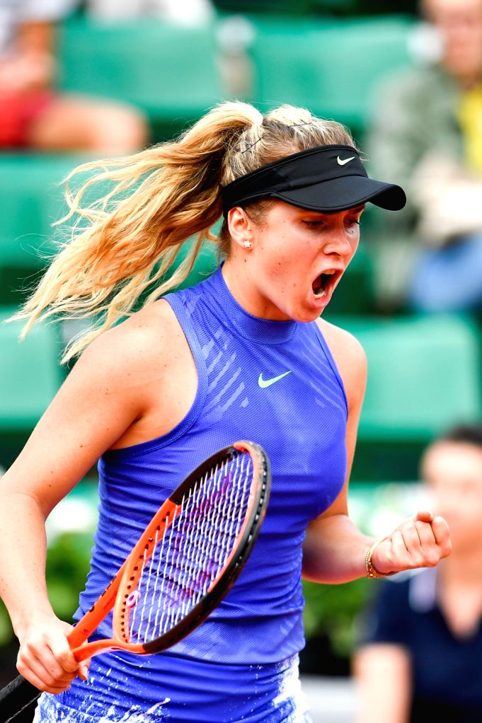 PARIS, May 30, 2017 - Elina Svitolina of Ukraine celebrates her point during the women's singles 1st round match against Yaroslava Shvedova of Kazakhstan at the French Open Tennis Tournament 2017 in ...