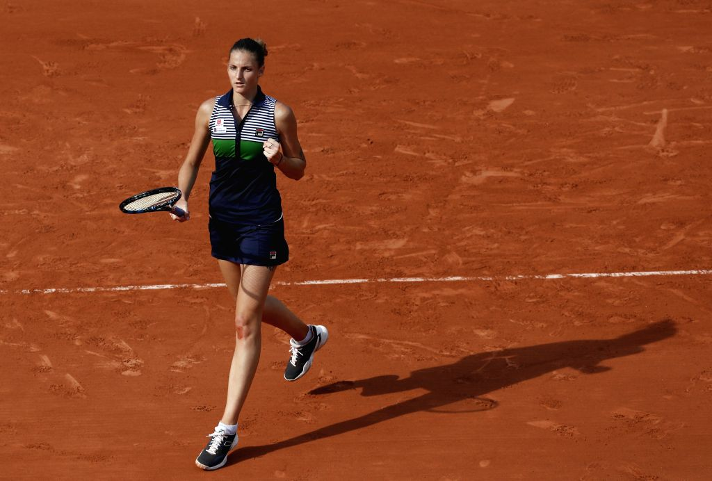 PARIS, May 30, 2017 - Karolina Pliskova of the Czech Republic celebrates after the women's singles first round match against Zheng Saisai of China at the French Open Tennis Tournament 2017 in Roland ...