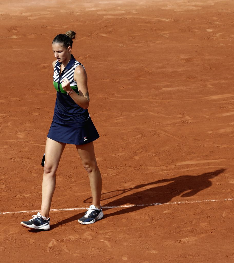 PARIS, May 30, 2017 - Karolina Pliskova of the Czech Republic celebrates during the women's singles first round match against Zheng Saisai of China at the French Open Tennis Tournament 2017 in Roland ...