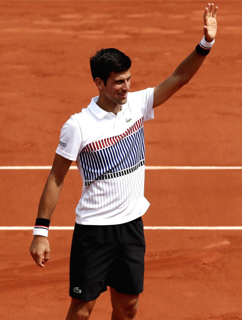 PARIS, May 30, 2017 - Novak Djokovic of Serbia celebrates after winning the men's singles first round match against Marcel Granollers of Spain at French Open Tennis Tournament 2017 in Roland Garros, ...