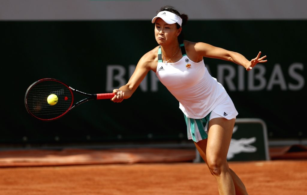 PARIS, May 30, 2017 - Peng Shuai of China returns a shot during the women's singles first round match against Sorana Cirstea of Romania at French Open Tennis Tournament 2017 in Roland Garros, Paris, ...
