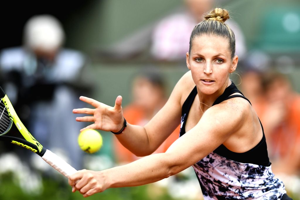 PARIS, May 30, 2018 - Kristyna Pliskova of Czech returns a shot during the women's singles first round match against Serena Williams of the United States at the French Open Tennis Tournament 2018 in ...