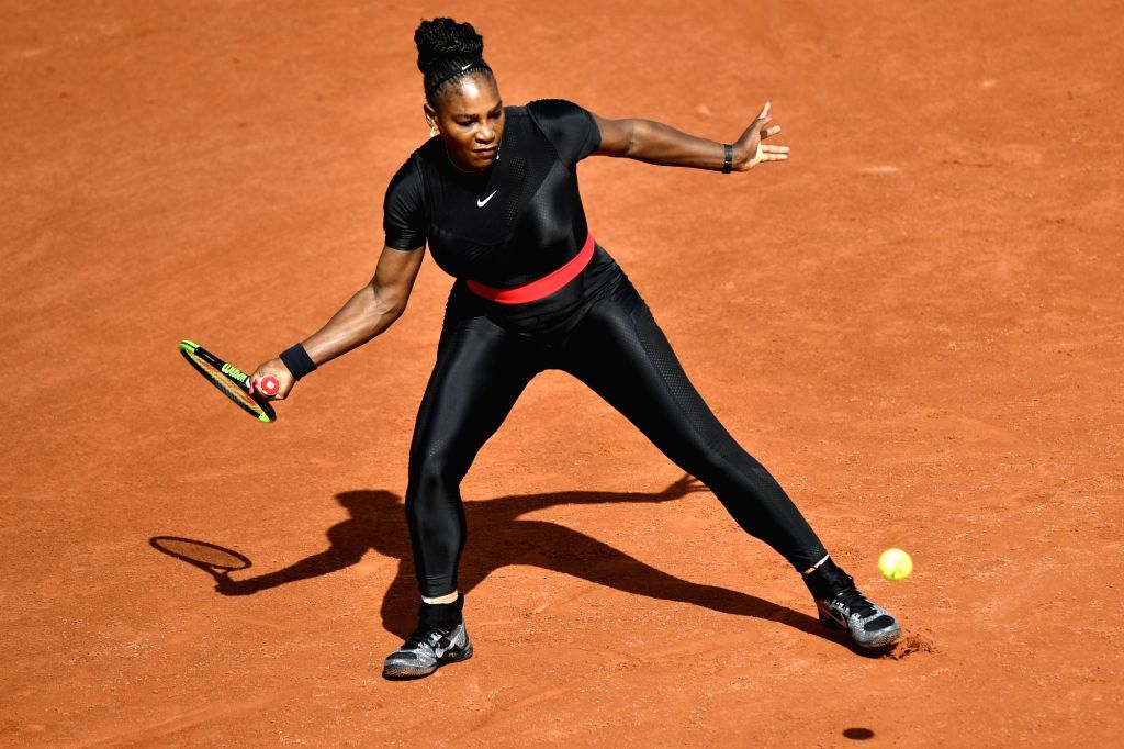 PARIS, May 30, 2018 - Serena Williams of the United States returns a shot during the women's singles first round match against Kristyna Pliskova of Czech at the French Open Tennis Tournament 2018 in ...