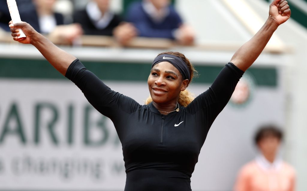 PARIS, May 30, 2019 (Xinhua) -- Serena Williams of the United States greets the audience after the women's singles second round match with Kurumi Nara of Japan at French Open tennis tournament 2019 at Roland Garros in Paris, France on May 30, 2019. S