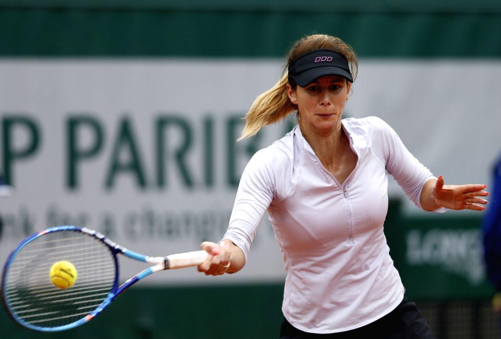 PARIS, May 31, 2016 - Tsvetana Pironkova of Bulgaria competes during the women's singles fourth round match against Agnieszka Radwanska of Poland at the French Open tennis tournament at Roland Garros ...