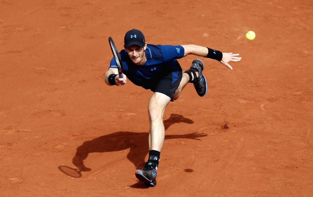PARIS, May 31, 2017 - Andy Murray of Britain returns the ball during the men's singles first round match with Andrey Kuznetsov of Russia at French Open Tennis Tournament 2017 in Roland Garros, Paris, ...