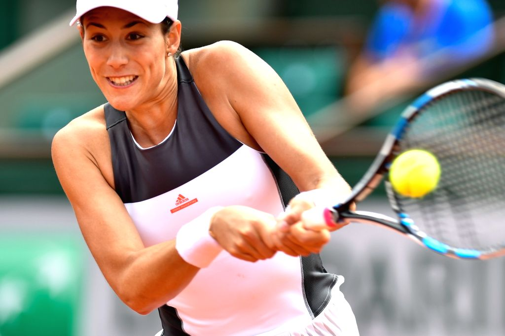 PARIS, May 31, 2017 - Garbine Muguruza of Spain competes during the women's singles 2nd round match against Anett Kontaveit of Estonia at the French Open Tennis Tournament 2017 in Paris, France on ...