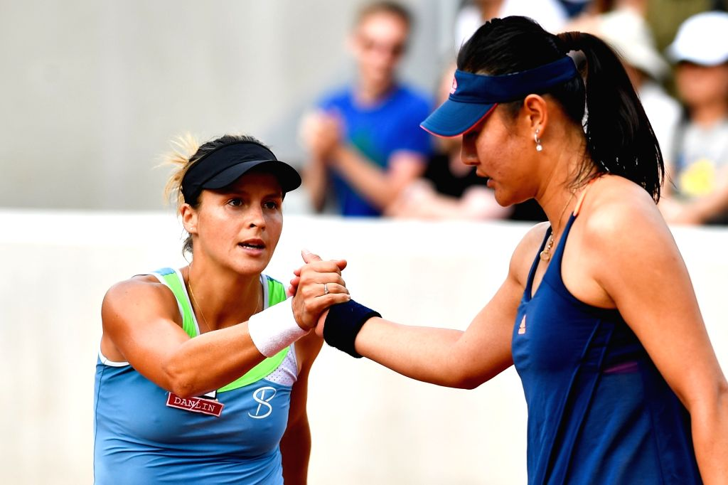 PARIS, May 31, 2017 - Tatjana Maria (L) of Germany greets Duan Yingying of China after their women's singles 1st round match at French Open Tennis Tournament 2017 in Paris, France on May 30, 2017. ...