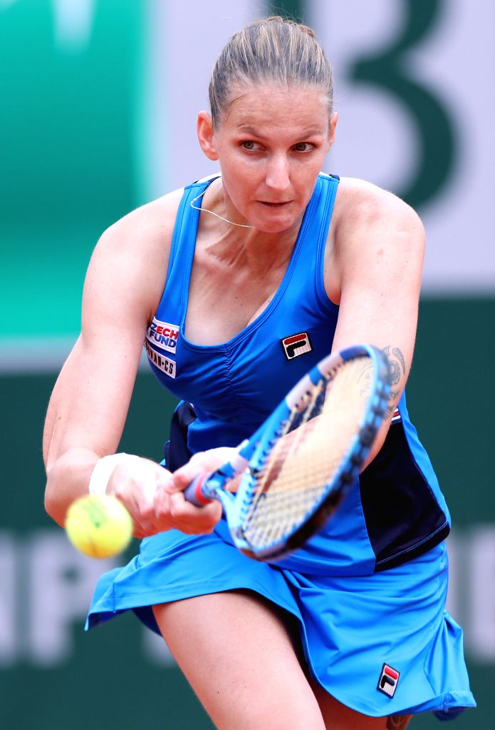 PARIS, May 31, 2019 - Czech Republic's Karolina Pliskova returns the ball during the women's singles third round match with Croatia's Petra Martic at French Open tennis tournament 2019 at Roland ...