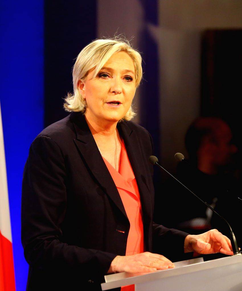 PARIS, May 7, 2017 - Marine Le Pen, far-right National Front (FN) party presidential candidate, attends a rally in Paris, France, on May 7, 2017. Centrist candidate Emmanuel Macron won Sunday's ...