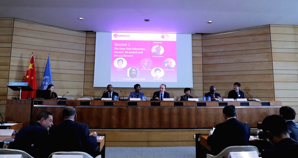 PARIS, Nov. 15, 2019 - A panel discussion is held during a ceremony at the UNESCO headquarters in Paris, France, Nov. 13, 2019. China and the UNESCO held a ceremony on Wednesday to mark the 25th ...