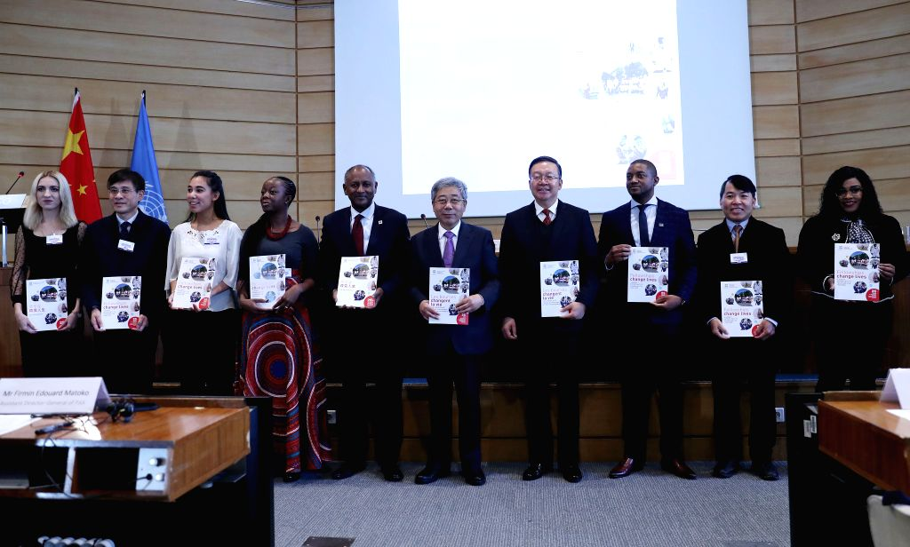 PARIS, Nov. 15, 2019 - Chinese Minister of Education Chen Baosheng (5th R) poses with recipients of the Great Wall Fellowships a ceremony at the UNESCO headquarters in Paris, France, Nov. 13, 2019. ...