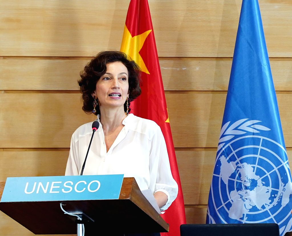 PARIS, Nov. 15, 2019 - UNESCO Director-General Audrey Azoulay delivers a speech during a ceremony at the UNESCO headquarters in Paris, France, Nov. 13, 2019. China and the UNESCO held a ceremony on ...