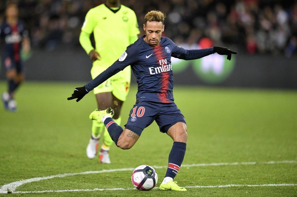 PARIS, Nov. 3, 2018 - Neymar Jr of Paris Saint-Germain shoots during the French Ligue 1 soccer match between Paris Saint-Germain and Lille in Paris, France on Nov. 2, 2018. Paris Saint-Germain won ...