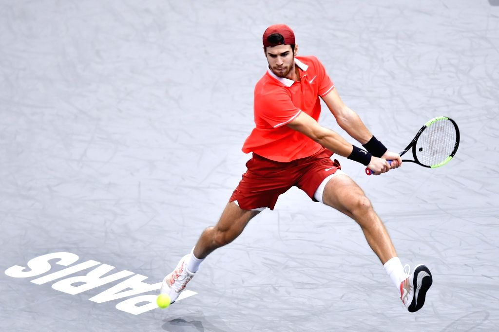 PARIS, Nov. 5, 2018 - Karen Khachanov of Russia hits a return during the singles final against Novak Djokovic of Serbia at ATP Paris Masters in Paris, France on Nov. 4, 2018. Khachanov won 2-0 and ...
