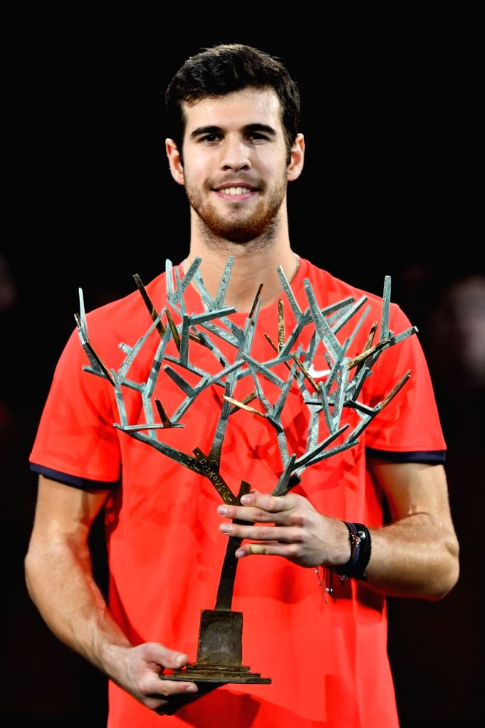 PARIS, Nov. 5, 2018 - Karen Khachanov of Russia poses for photos during the awarding ceremony after the singles final against Novak Djokovic of Serbia at ATP Paris Masters in Paris, France on Nov. 4, ...