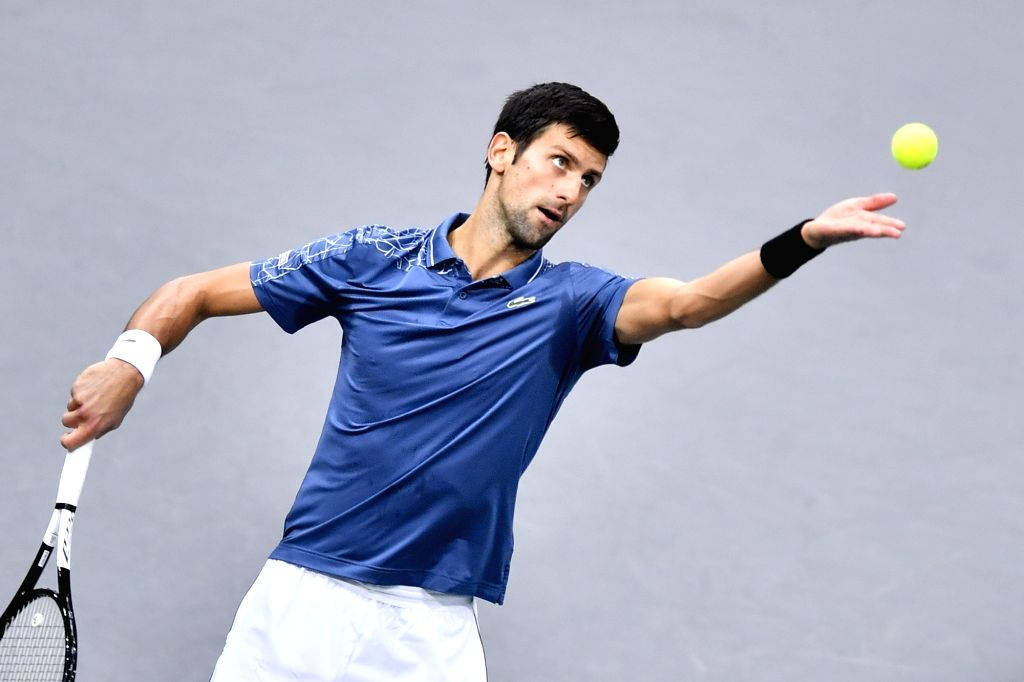 PARIS, Nov. 5, 2018 - Novak Djokovic of Serbia serves during the singles final against Karen Khachanov of Russia at ATP Paris Masters in Paris, France on Nov. 4, 2018. Djokovic lost 0-2.