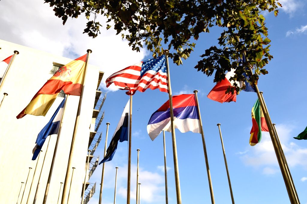 PARIS, Oct. 12, 2017 - Photo taken on Oct. 12, 2017 shows flags outside the United Nations Educational, Scientific and Cultural Organization (UNESCO) headquarters in Paris, France. The United States ...