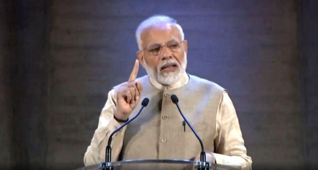 Paris: Prime Minister Narendra Modi addresses the Indian Community in Paris, France on Aug 23, 2019. (Photo: IANS/PMO) - Narendra Modi