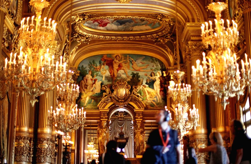 PARIS, Sept. 21, 2019 - People visit the Paris Opera Theater during the European Heritage Days in Paris, France, Sept. 21, 2019. Historical heritage sites are open to public this weekend in France to ...