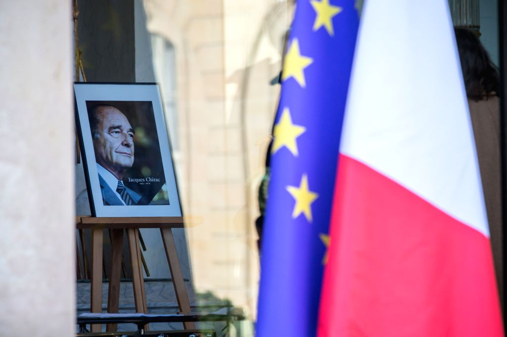 PARIS, Sept. 27, 2019 - Former French President Jacques Chirac's portrait is seen at the Elysee Presidential Palace in Paris, France, Sept. 27, 2019. Former French President Jacques Chirac passed ...