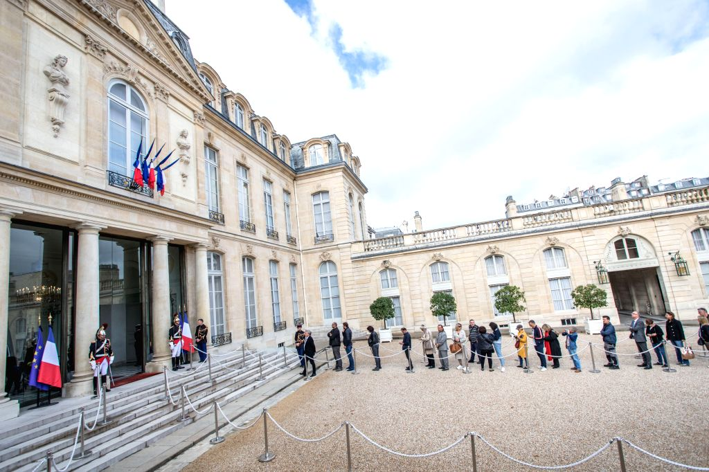PARIS, Sept. 27, 2019 - People wait for paying homage at the Elysee Presidential Palace, following the death of former French President Jacques Chirac in Paris, France, Sept. 27, 2019. Former French ...