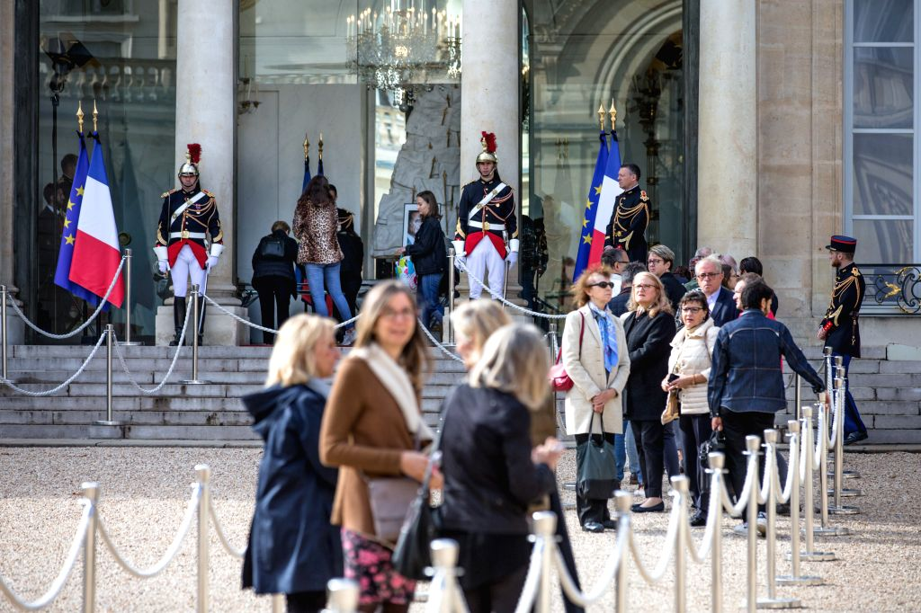 PARIS, Sept. 27, 2019 - People wait for signing condolence registers at the Elysee Presidential Palace, following the death of former French President Jacques Chirac in Paris, France, Sept. 27, 2019. ...