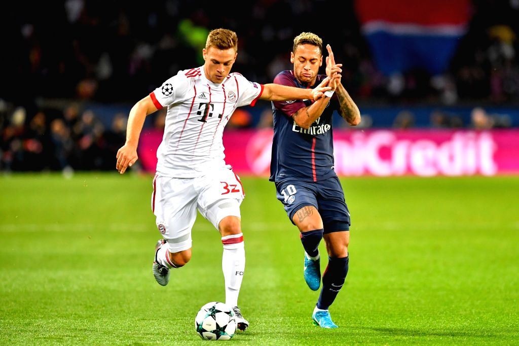 PARIS, Sept. 28, 2017 - Neymar (R) from Paris Saint-Germain competes with Joshua Kimmich from Bayern Munich during their match of Group B of the 2017-18 season Champions League at Parc des Princes in ...