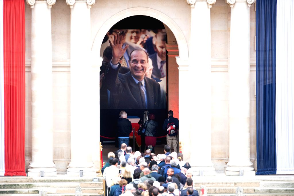 PARIS, Sept. 29, 2019 - People queue to pay tribute to former French President Jacques Chirac at the Hotel des Invalides in Paris, France, Sept. 29, 2019. Former French President Jacques Chirac ...