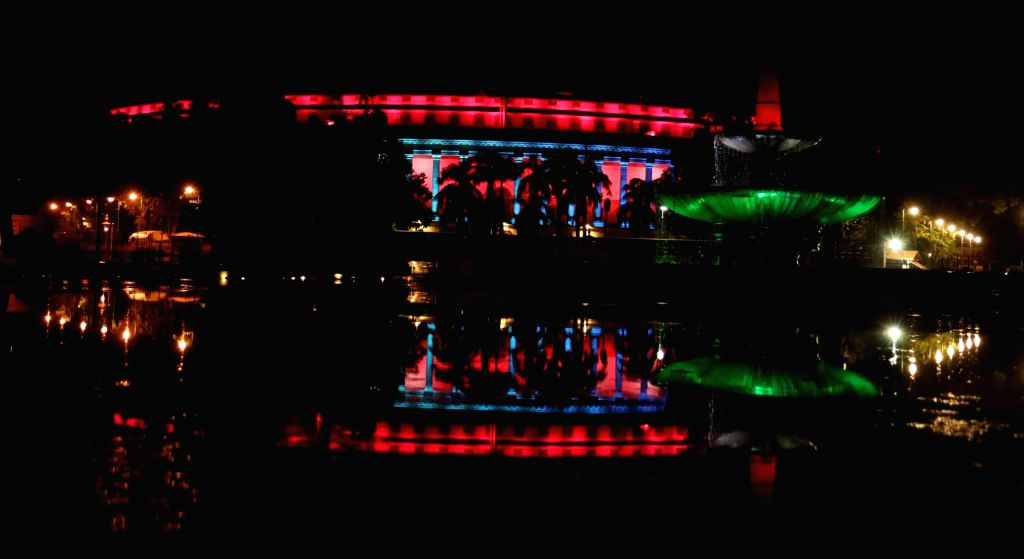 Parliament illuminated in tricolor on the eve of the 74th Independence Day in New Delhi on Aug 14, 2020.