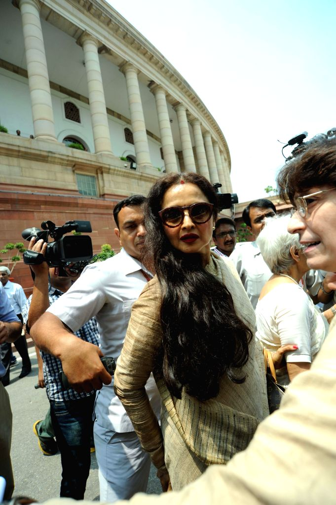 Parliamentarian and actress Rekha at the Parliament in New Delhi on Aug 12, 2014. - Rekha