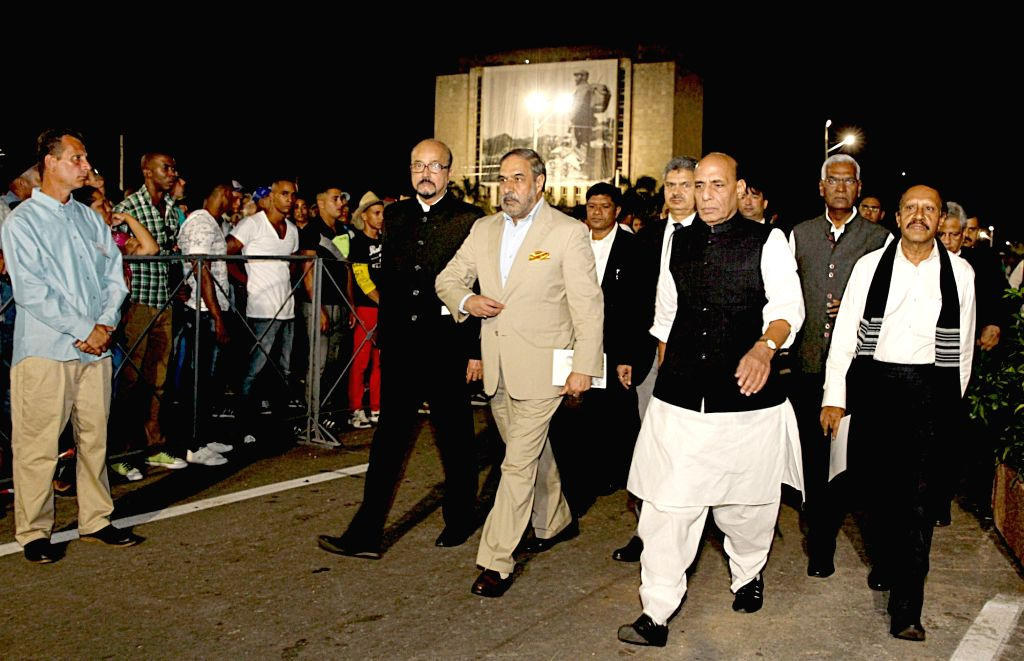 Parliamentary delegation led by the Union Home Minister Rajnath Singh proceed to Jose Marti Revolution Square to pay tribute to Commander-in-Chief of the Cuban Revolution, Fidel Castro in ... - Rajnath Singh