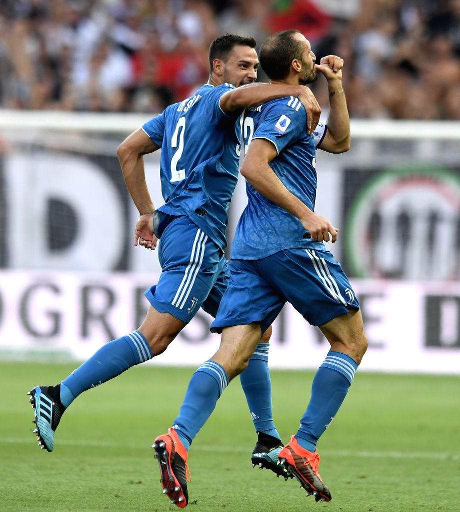 PARMA, Aug. 25, 2019 - Juventus' Giorgio Chiellini (R) celebrates his goal during the Serie A soccer match between Parma and FC Juventus in Parma, Italy, Aug 24 , 2019.