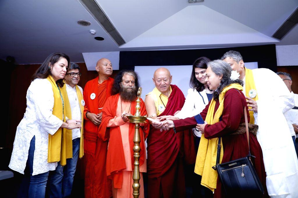 """Parmarth Niketan Ashram President and spiritual head Pujya Chindanand Swami and other dignitaries at the inauguration of """"Green Himalayas"""" - a sustainability project at Phobrang, ..."""