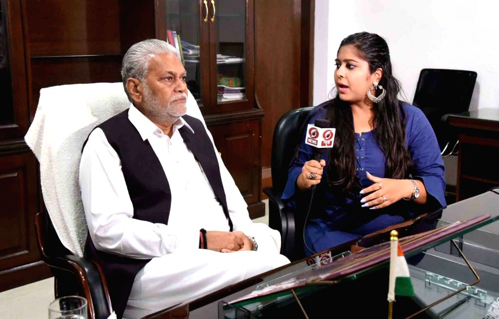 Parshottam Rupala talks to a media personal after taking charge as the Minister of State for Agriculture and Farmers Welfare, in New Delhi on June 1, 2019.