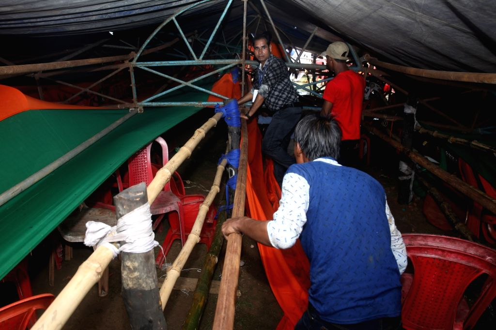 "Part of the canopy that collapsed at Prime Minister Narendra Modi's ""Kisan Kalyan"" rally injuring 20, in West Bengal's Midnapore on July 16, 2018. The injured were rushed to the ... - Narendra Modi"