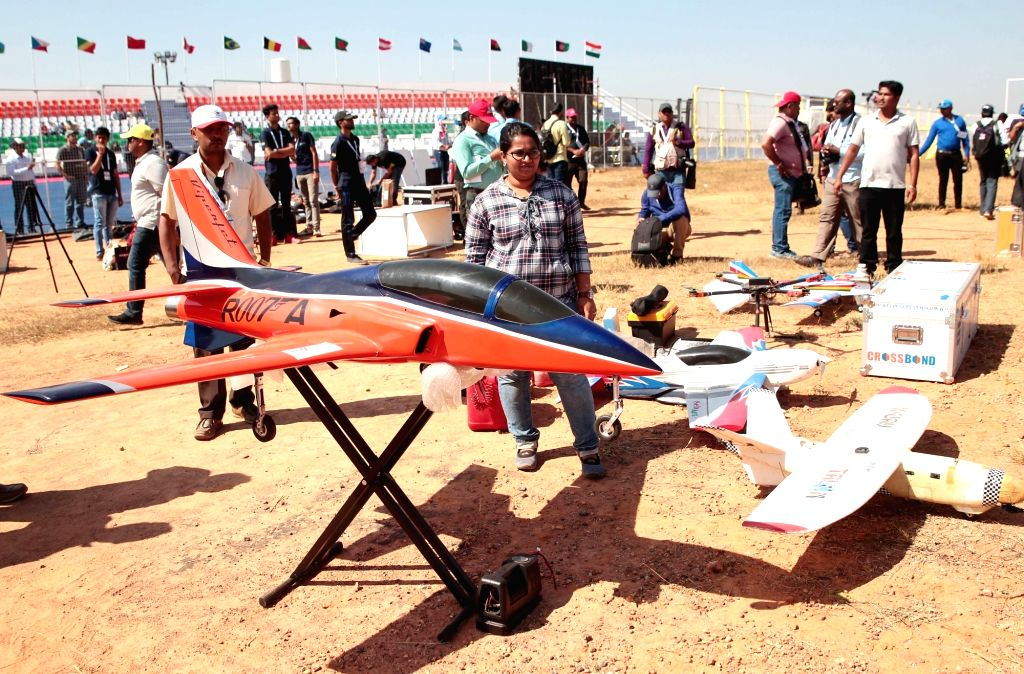 """Participants during Drone Olympics - part of the ongoing """"Aero India 2019"""" air show - at Yelahanka Air Force Station, in Bengaluru, on Feb 21, 2019."""