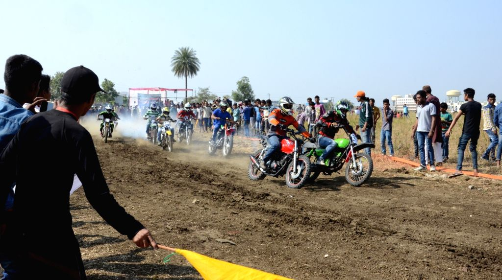 Participants during the Dart motorbike race competition in Bhopal on Nov 15, 2015.