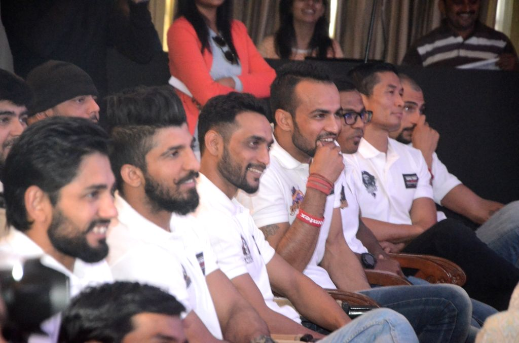Participants of Super Fight League during a programme  in Mumbai, on Jan 13, 2017 Super Fight League is a Mixed Martial Arts competition.