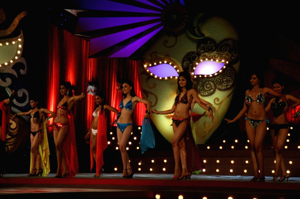Participants perform at the Gladrags Mega Model Hunt final held in Mumbai Sunday.