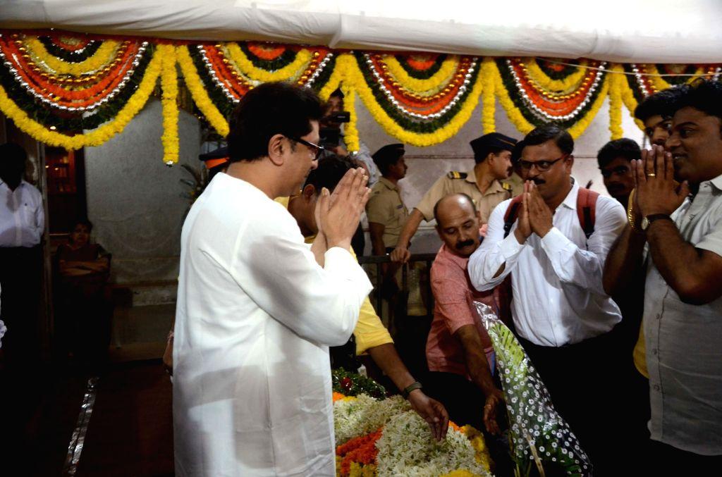 Party workers greet Maharashtra Navnirman Sena (MNS) President Raj Thackeray on his birthday at his residence in Dadar, Mumbai on June 14, 2018.