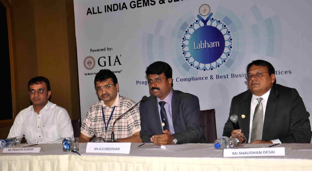 Parveen Kumar, G V Sreedhar and Shaudhan Desai during a press conference organised by All India Gems & Jewellery Federation in Hyderabad on Aug 31, 2014. - Parveen Kumar and Shaudhan Desai