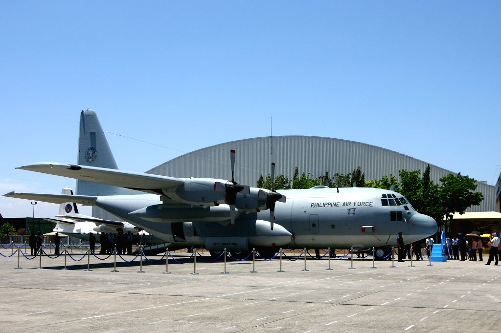 PASAY CITY, April 12, 2016 - Photo taken on April 12, 2016 shows a newly-acquired Lockheed C-130 military cargo transport plane during a turnover ceremony at Villamor Air Base in Pasay City, the ...