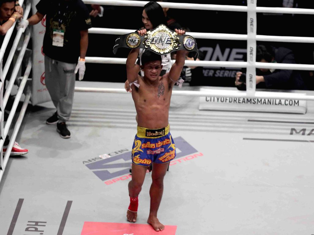 PASAY CITY, Aug. 3, 2019 - Rodtang Jitmuangnon celebrates after winning the flyweight fight against Johnathan Haggerty of the United Kingdom at the One Championship tournament in Pasay City, the ...